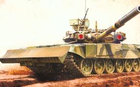Picture painting, Russian Main Battle Tank T-90 w/TBS-86 Tank Dozer, art, war, tank