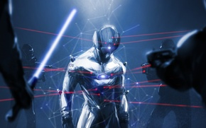 Picture dark, people, hero, costume, helmet, laser sight, under the gun, surrounded by