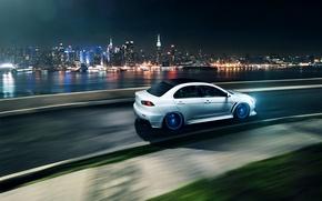 Picture white, night, the city, speed, turn, Mitsubishi, Lancer, white, Evolution, skyscrapers, megapolis, Lancer, Mitsubishi, evolution, …