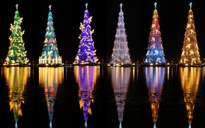 Picture lights, tree, Christmas, Brazil, Rio de Janeiro, lagoon Rodrigo Freitas