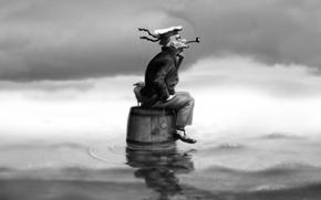 Picture black and white, sailor, barrel