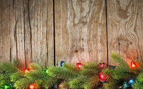 Picture New Year, garland, Merry, decoration, Christmas, lights, tree, Christmas, wood, decoration, branches