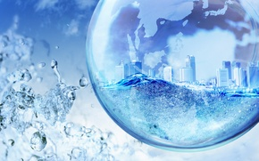 Picture water, city, Photoshop, Globe