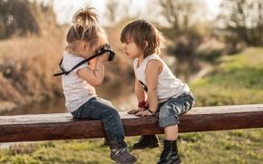 Picture children, boy, the camera, girl, flegra