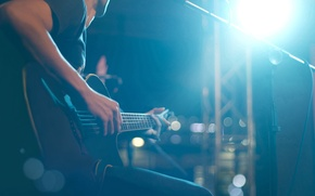 Picture lights, scene, guitar, strings, music, blur, sound, concert, guitar, hall, tool, musician, colorful, plays, frets, …
