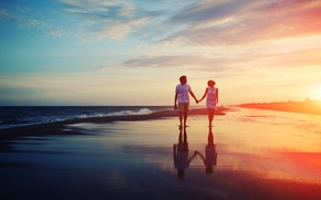 Picture sea, love, sunset, pair, relationship, promenade