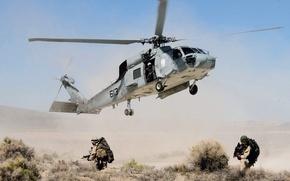 Picture weapons, desert, soldiers, fighters, black hawk, Black hawk