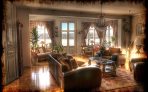 Picture retro, photo, sofa, HDR, interior, chandelier
