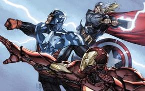 Wallpaper team, Iron man, Captain America, Thor, The Avengers