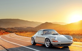 Picture The sun, Road, 911, Porsche, Machine, Porsche, Sun, Road, Singer