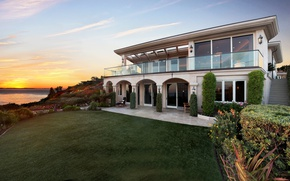 Picture dawn, lawn, Villa, USA, America, Sunrises, Monarch Bay