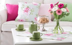 Picture flowers, tea, cookies