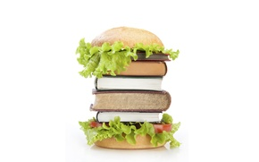 Picture books, hamburger, roll, salad, food for thought