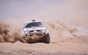 Picture Sand, Dust, Machine, Skid, Mitsubishi, Rally, Dakar, SUV
