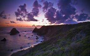 Wallpaper the ocean, beach, sunset