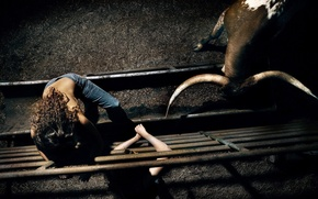 Picture girl, horns, arena, corral, bull