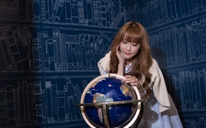 Picture girl, face, background, hair, globe