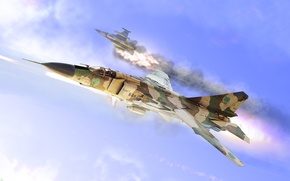 Wallpaper f16, down, MiG-23, MiG 23
