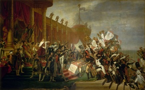 Picture army, artist, Napoleon, know, banners, Jacques-Louis David