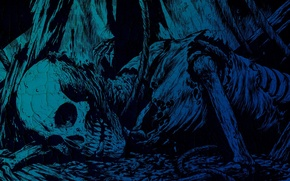 Wallpaper the darkness, skeleton, death, blue