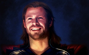 Picture look, smile, Marvel, Thor, Thor, Chris Hemsworth, smiling, Chris Hemsworth, fan art.