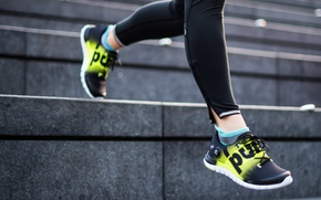 Wallpaper women, sportswear, workout, sports shoes, stairs