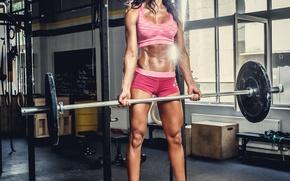 Picture brunette, female, workout, gym, bodybuilder