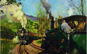 Wallpaper picture, canvas, «THE PASS TRACK, oil, WALES», FFESTINIOG RAILWAY, the artist Terence Cuneo
