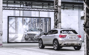 Picture Concept, Reflection, Machine, Grey, Silver, Mirror, Mercedes Benz, Rear view, Front view, GLA