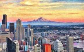 Picture the sky, the city, lights, building, mountain, home, Seattle, Seattle