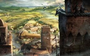 Picture castle, village, crows, battle, the middle ages