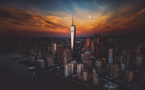 Wallpaper the sky, sunset, the city, USA, New York, skyscrapers