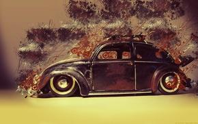 Wallpaper beetle, Volkswagen, Beetle, resto