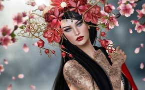 Picture girl, flowers, brunette, tattoo, wreath