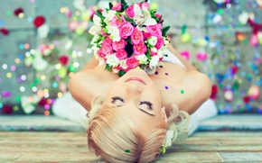 Picture girl, flowers, mood, bouquet, the bride