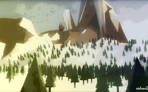 Picture mountains, minimalism, tree, low polygonal