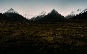 Picture mountains, peaks, power line