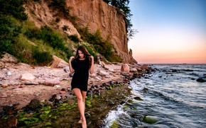 Picture girl, stones, shore, surf, legs, On the cliff