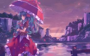 Picture water, girl, smile, umbrella, petals, dress, touhou, kagiyama hina