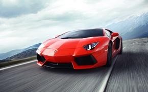 Picture supercar, in motion, Lamborghini, Lamborghini Aventador