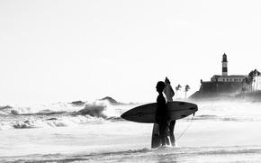 Picture waves, beach, sea, surf, seaside, Brasil, Salvador, Bahia, surfers, Farol da Barra, surfboards