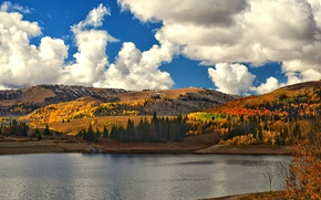 Picture autumn, clouds, lake, hills, orange, autumn colors, sunlight, countryside, fall, fall colors