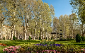 Picture trees, flowers, design, Park, lawn, fountain, alley, gazebo, benches, the bushes, Croatia, Zagreb