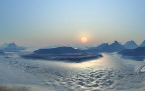 Wallpaper Sunset, The sun, Ice