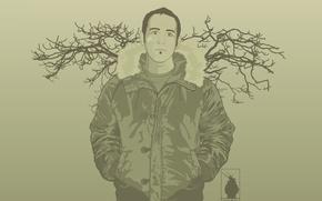 Wallpaper minimalism, Vector, branches, jacket