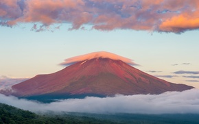 Picture Fuji, mountain, Mount Fuji, morning, stratovolcano, August, Japan, summer, the sky, sunrise, clouds, the island ...