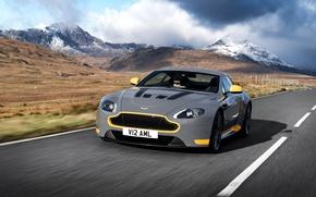 Picture road, car, auto, Aston Martin, speed, Aston Martin, grey, yellow, V12, and, Vantage S, Sport-Plus …