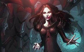 Picture girl, blood, art, vampire, bats