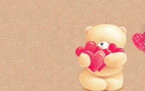 Picture background, mood, holiday, heart, art, bear, Valentine's Day, children's, Valentines, With love, Forever Friends Deckchair …
