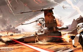 Picture the sky, rays, the explosion, desert, smoke, ship, battle, logo, helmet, armor, logo, stormtroopers, Electronic …